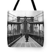 Walking On The Brooklyn Bridge Tote Bag