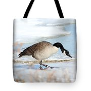 Walking On The Snow Tote Bag