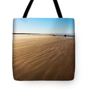 Walking On Windy Beach. Tote Bag