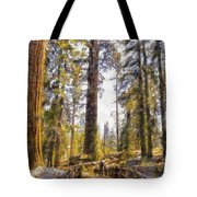 Walking Small In The Tall Forest Tote Bag
