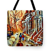Walking The Dog By Balconville Winter Street Scenes Art Of Montreal City Paintings Carole Spandau Tote Bag