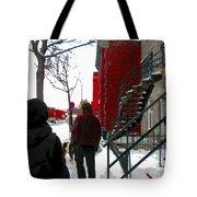 Walking The Dog Through Snowy Streets Of Montreal Urban Winter City Scenes Carole Spandau Tote Bag