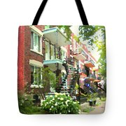 Walking Verdun In Summer Winding Staircases And Pathways Urban Montreal City Scenes Carole Spandau Tote Bag