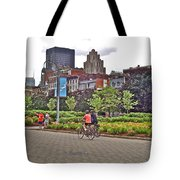 Walkway By Quays Along Saint Lawrence River In Montreal-qc Tote Bag