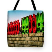 Wall Of Kayaks Tote Bag