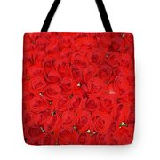 Wall Of Red Roses Tote Bag
