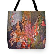 Wall Painting At Wat Suthat In Bangkok-thailand Tote Bag