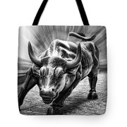Wall Street Bull Black And White Tote Bag