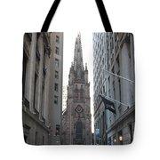 Wall Street Leading To Trinity Church Tote Bag