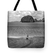 Wandering In Paradise Monochrome Tote Bag