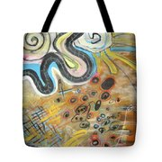 Wandering In Thought2 Original Abstract Colorful Landscape Painting For Sale Yellow Blue Green Tote Bag