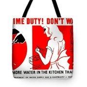 War Poster - Ww2 - Dont Waste Water 1 Tote Bag