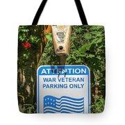 Veteran Parking Sign Tote Bag