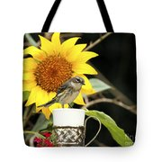 Sunflower And Warbler Bird Tote Bag