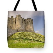 Warkworth Castle With  Daffodils Tote Bag