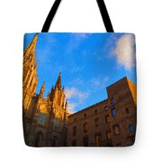Warm Glow Cathedral - Impressions Of Barcelona Tote Bag