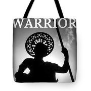 Warrior White Text Tote Bag