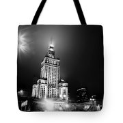 Warsaw Poland Downtown Skyline At Night Tote Bag