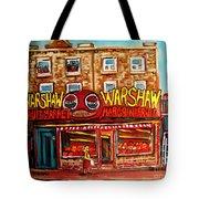 Warshaw's Bargain Fruit Store Rue St Laurent Montreal Paintings City Scene Art Carole Spandau Tote Bag