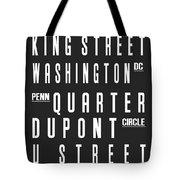 Washington City Subway Sign Tote Bag