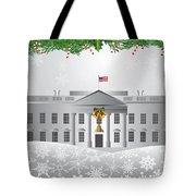 Washington Dc White House Christmas Scene Illustration Tote Bag