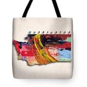 Washington Map Art - Painted Map Of Washington Tote Bag