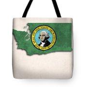 Washington Map Art With Flag Design Tote Bag