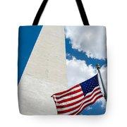 Washington Monument And Flag Tote Bag
