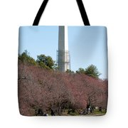 Washington Monument Reflected In Tidal Basin And Surrounded By P Tote Bag