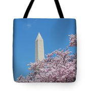Washington Monument With Cherry Blossoms Tote Bag