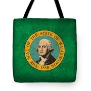 Washington State Flag Art On Worn Canvas Tote Bag