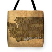 Washington Word Art State Map On Canvas Tote Bag