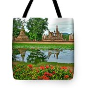 Wat Mahathat Reflection In 13th Century Sukhothai Historical Park-thailand Tote Bag