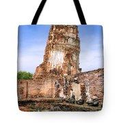 Wat Mahathat Temple In Ayutthaya Tote Bag