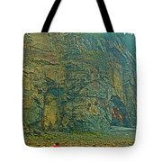 Watching Climbers From Ocean Floor At Cape Enrage-nb Tote Bag