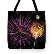 Watching Pink And Gold Explosion - Fireworks And Moon II Tote Bag