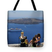 Watching The View In Santorini Island Tote Bag