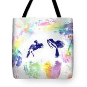 Water Color Bird Fight Tote Bag