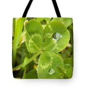 Water Droplets On Clover Tote Bag