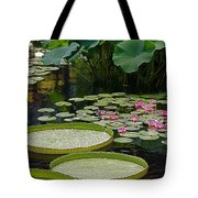 Water Lilies And Platters And Lotus Leaves Tote Bag