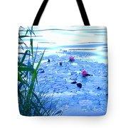 Water Lilies Blue Tote Bag