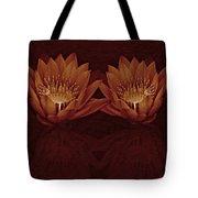 Water Lilies In Deep Sepia Tote Bag