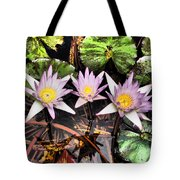 Water Lilies Water Drop And Reflection In Water Tote Bag