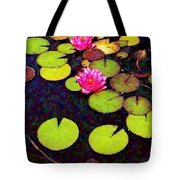 Water Lilies With Pink Flowers - Vertical Tote Bag