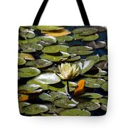 Water Lily And Bees Tote Bag