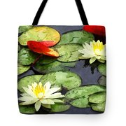 Water Lily Pond In Autumn Tote Bag