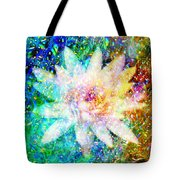Water Lily With Iridescent Water Drops Tote Bag