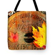 Water Meter Cover With Autumn Leaves Abstract Tote Bag