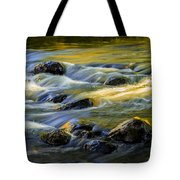 Beautiful Water Reflections On The Flowing Thornapple River Tote Bag