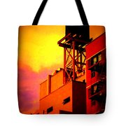 Water Tower With Orange Sunset Tote Bag